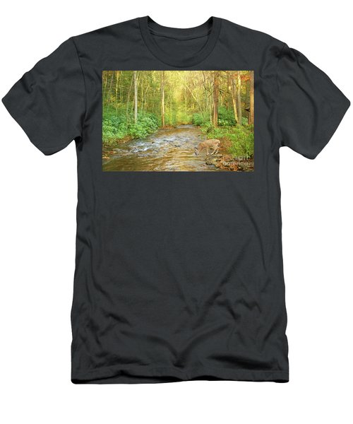 Fawn Drinking From Stream Men's T-Shirt (Athletic Fit)