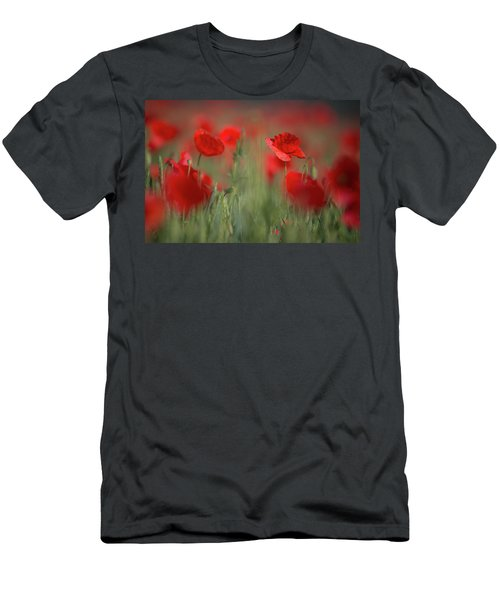 Field Of Wild Red Poppies Men's T-Shirt (Athletic Fit)