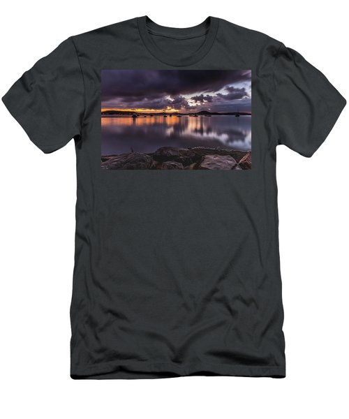 First Light With Heavy Rain Clouds On The Bay Men's T-Shirt (Athletic Fit)