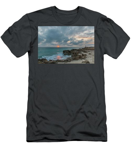 Fisherman On Rocks Men's T-Shirt (Athletic Fit)