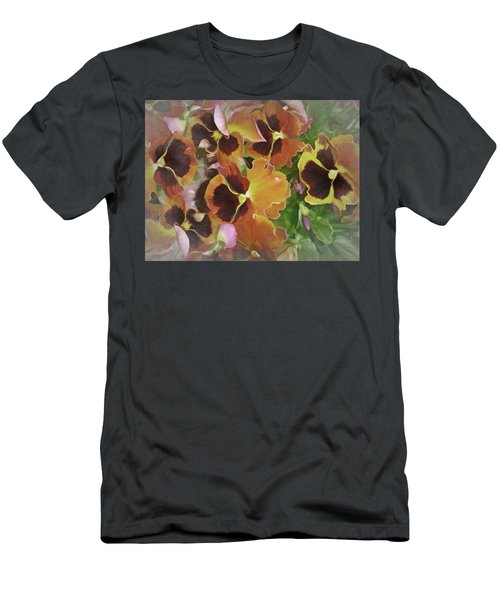 Men's T-Shirt (Athletic Fit) featuring the mixed media Flaming Pansies 9  by Lynda Lehmann