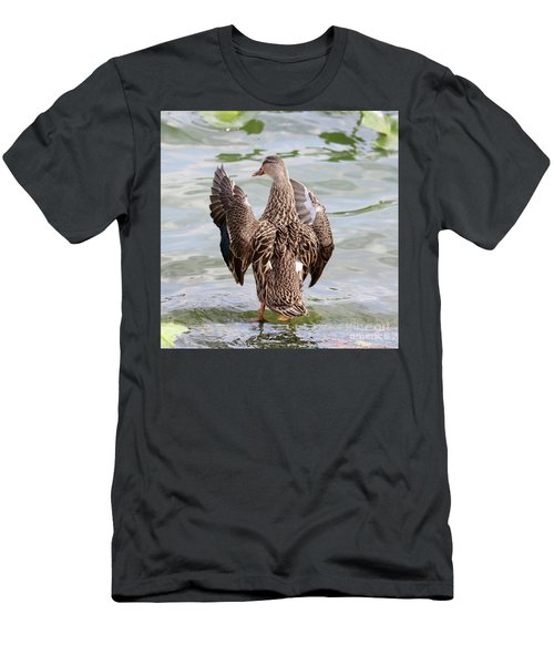 Flapping Female Mottled Duck Square Men's T-Shirt (Athletic Fit)