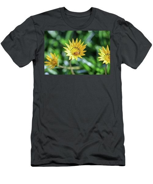 Yellow Flowers And A Bee Men's T-Shirt (Athletic Fit)