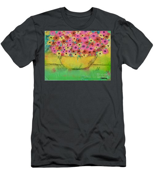 Men's T-Shirt (Athletic Fit) featuring the painting Flowers For Debbie by Kim Nelson