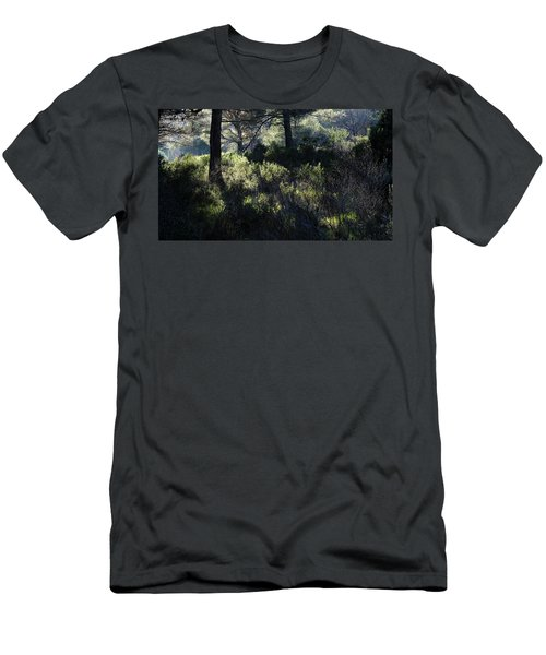 Men's T-Shirt (Athletic Fit) featuring the photograph Forest Sun Play  by August Timmermans