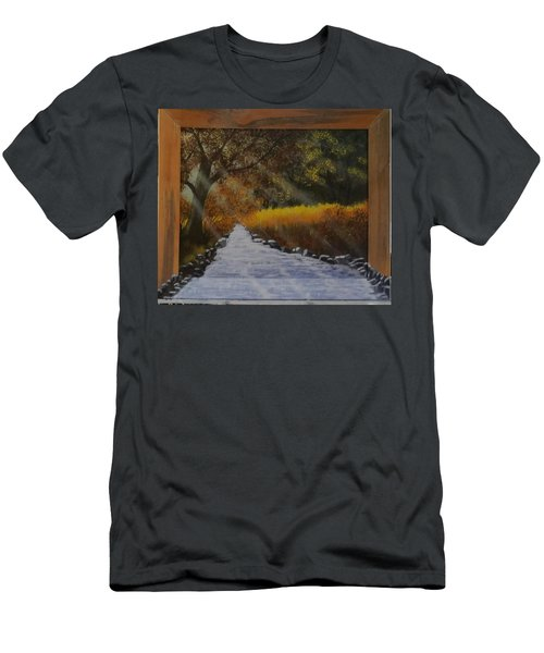 Forest Sunrays Over Water Men's T-Shirt (Athletic Fit)