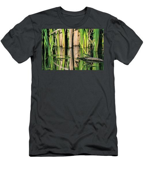 Men's T-Shirt (Athletic Fit) featuring the photograph Frog On A Log by Edward Peterson