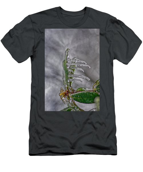 Men's T-Shirt (Athletic Fit) featuring the photograph Frozen Leaf by Meta Gatschenberger
