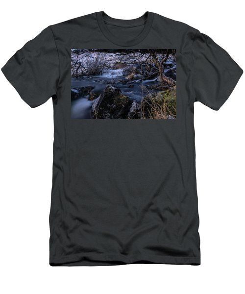 Frozen River And Winter In Forest. Long Exposure With Nd Filter Men's T-Shirt (Athletic Fit)