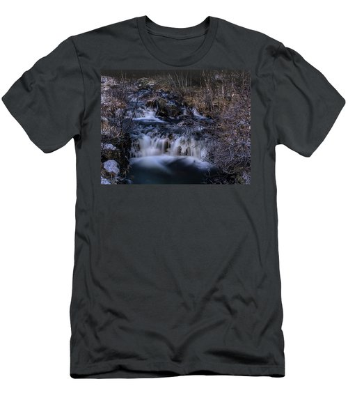 Frozen River In Forest - Long Exposure With Nd Filter Men's T-Shirt (Athletic Fit)