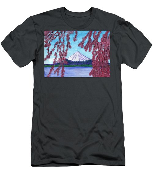 Sakura Blooming On The Background Of A Snowy Mountain Men's T-Shirt (Athletic Fit)