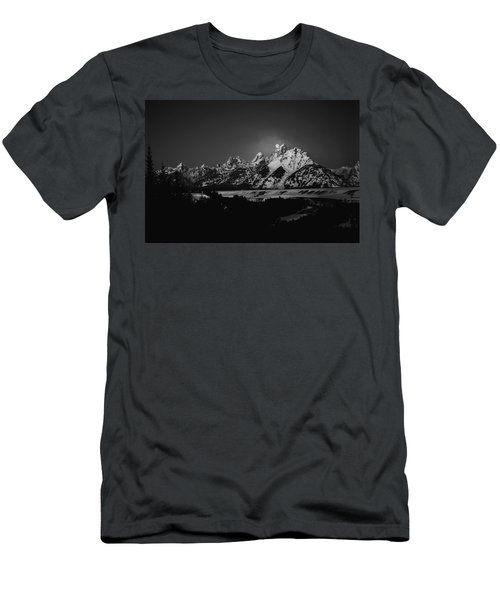 Full Moon Sets In The Tetons Men's T-Shirt (Athletic Fit)