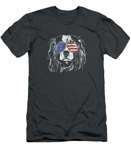Funny Proud Cavalier King Charles Spaniel Patriotic Dog Tee Men's T-Shirt (Athletic Fit)