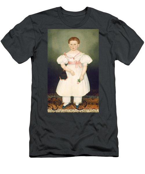 Men's T-Shirt (Athletic Fit) featuring the painting Girl With Reticule And Rose by Joseph Whiting Stock