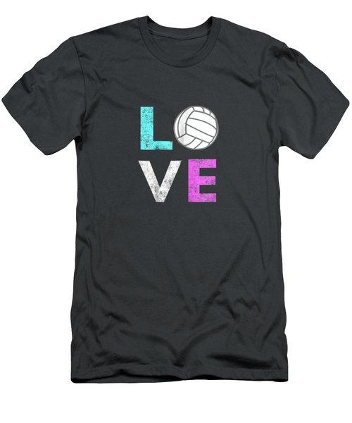Girls Love Volleyball Best Fun Birthday Gift Tshirt Men's T-Shirt (Athletic Fit)