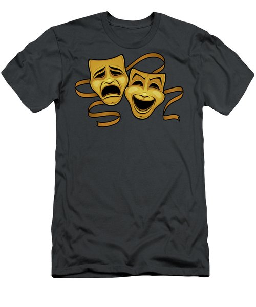 Gold Comedy And Tragedy Theater Masks Men's T-Shirt (Athletic Fit)