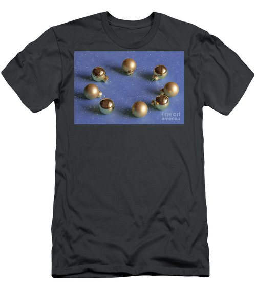 Golden Christmas Balls On The Snowy Background Men's T-Shirt (Athletic Fit)