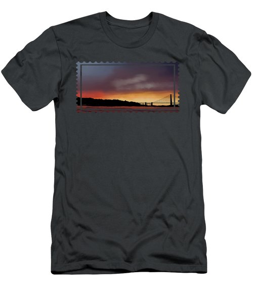 Men's T-Shirt (Athletic Fit) featuring the painting Golden Gate Sunset by Becky Herrera
