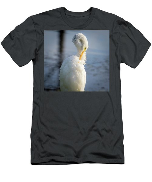 Men's T-Shirt (Athletic Fit) featuring the photograph Great Egret - Preening Time by Ricky L Jones