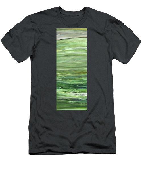 Green Abstract Meditative Brush Strokes I Men's T-Shirt (Athletic Fit)