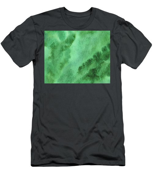 Green Splashes And Glow Abstract Watercolor  Men's T-Shirt (Athletic Fit)