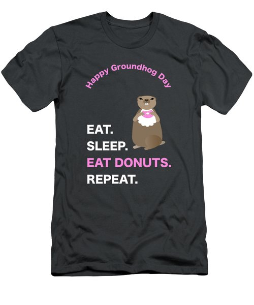 Groundhog Day Eat Sleep Eat Donuts Repeat Men's T-Shirt (Athletic Fit)
