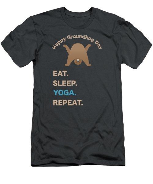 Groundhog Day Eat Sleep Yoga Repeat Men's T-Shirt (Athletic Fit)