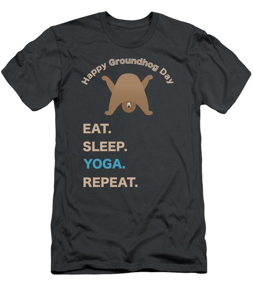 Groundhog Day Eat Sleep Yoga Repeat Men's T-Shirt (Athletic Fit)