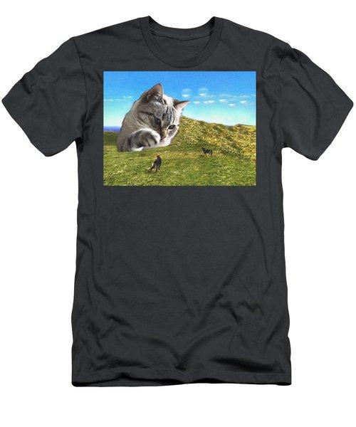 Gulliver's Cat Meets Abbie's Dogs  Men's T-Shirt (Athletic Fit)