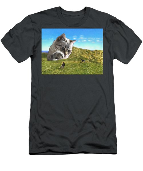 Gulliver's Cat Meets Abbie's Dogs  Men's T-Shirt (Athletic Fit)