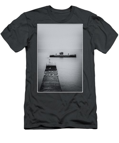 Men's T-Shirt (Athletic Fit) featuring the photograph Gulls On The Pier by Guy Whiteley