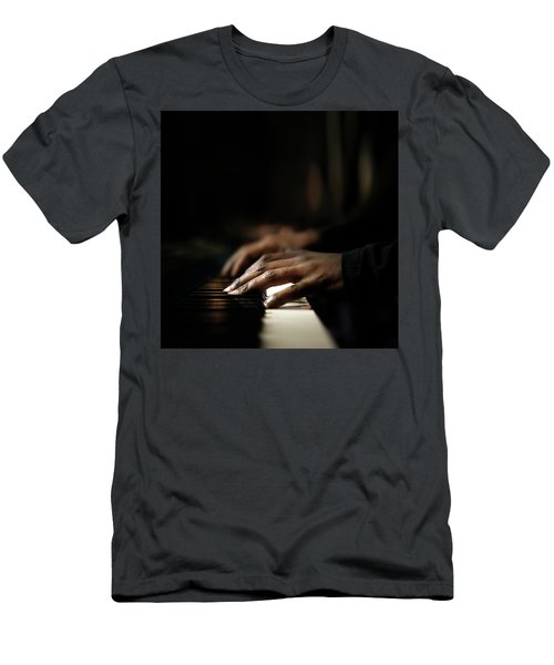 Hands Playing Piano Close-up Men's T-Shirt (Athletic Fit)