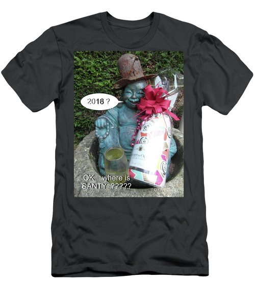 Men's T-Shirt (Athletic Fit) featuring the painting Christmas Wishes To Everyone by Val Byrne