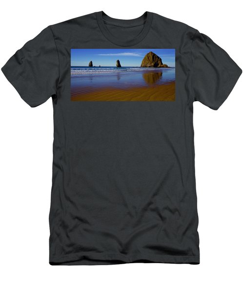 Haystack Rock Panoramic Men's T-Shirt (Athletic Fit)