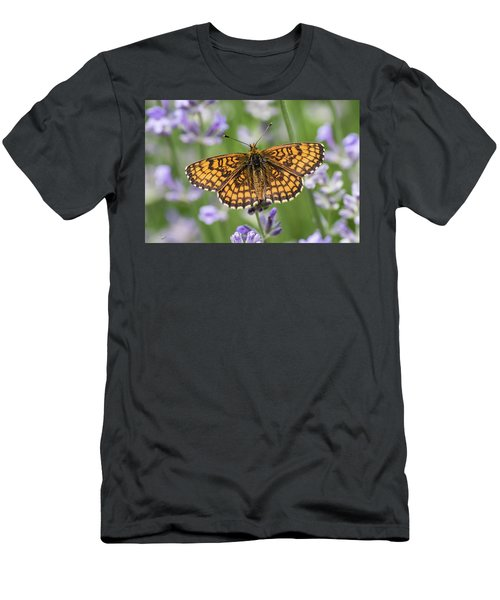Heath Fritillary On The Lavender Men's T-Shirt (Athletic Fit)