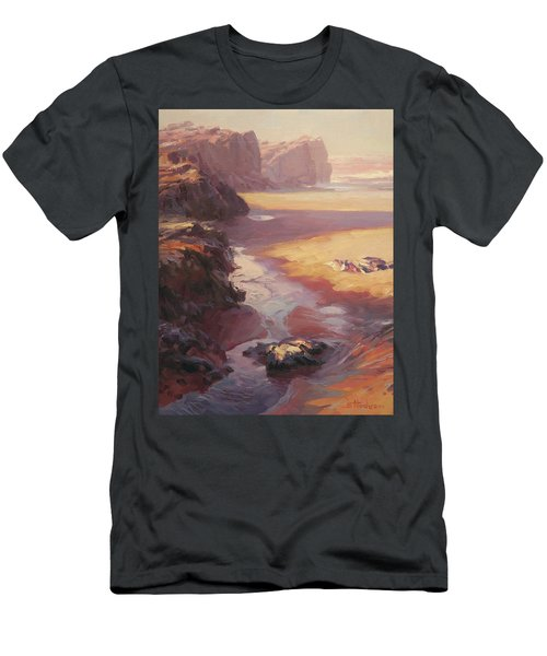 Men's T-Shirt (Athletic Fit) featuring the painting Hidden Path To The Sea by Steve Henderson