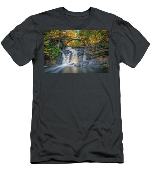 Men's T-Shirt (Athletic Fit) featuring the photograph High Arch Bridge In Vaughan Woods by Rick Berk