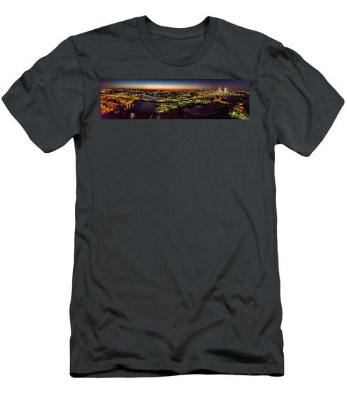 Men's T-Shirt (Athletic Fit) featuring the photograph Hoan Bridge At Dusk Panorama by Randy Scherkenbach