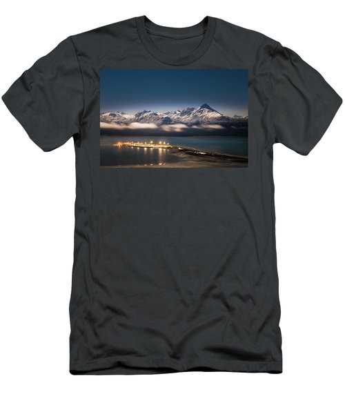 Homer Spit With Moonlit Mountains Men's T-Shirt (Athletic Fit)