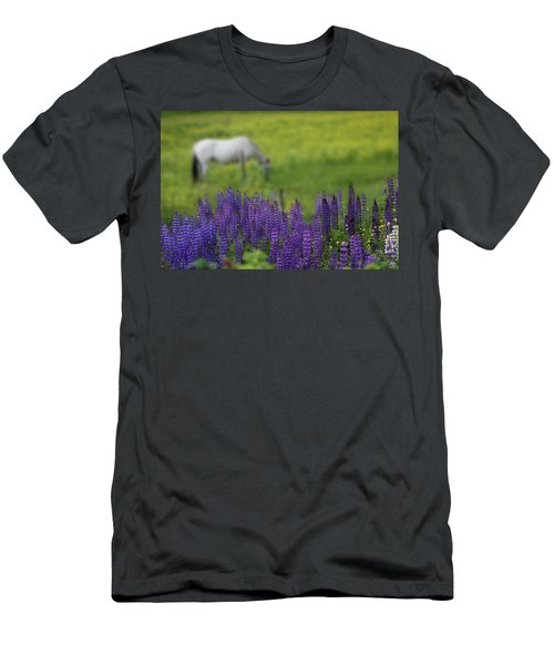 Men's T-Shirt (Athletic Fit) featuring the photograph I Dreamed A Horse Among Lupine by Wayne King