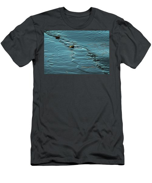 Men's T-Shirt (Athletic Fit) featuring the photograph Ice Leaf Water by Edward Peterson