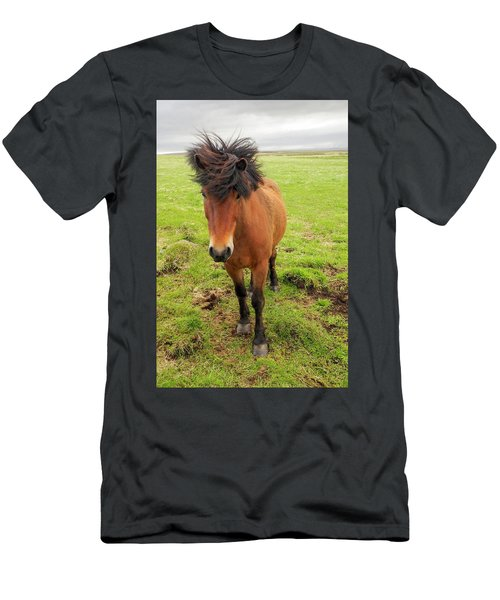 Men's T-Shirt (Athletic Fit) featuring the photograph Icelandic Horse With Tousled Mane by Marla Craven