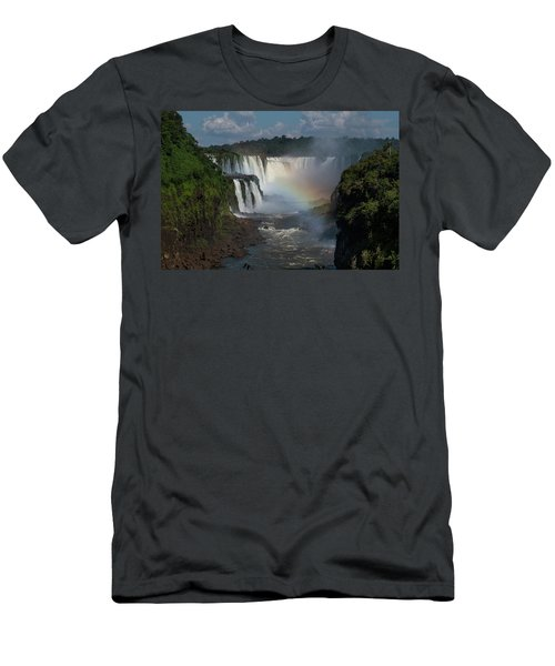 Iguazu Falls With A Rainbow Men's T-Shirt (Athletic Fit)
