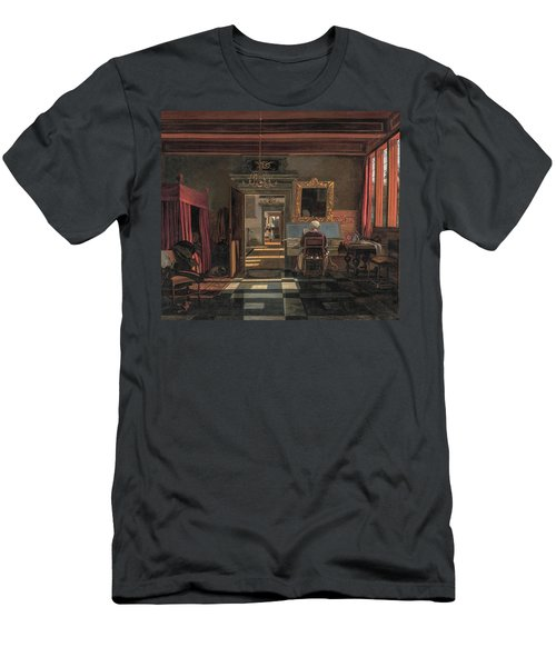 Interior With A Woman At A Virginal, And An Officer Listening In The Bed On The Left, By Emanuel ... Men's T-Shirt (Athletic Fit)