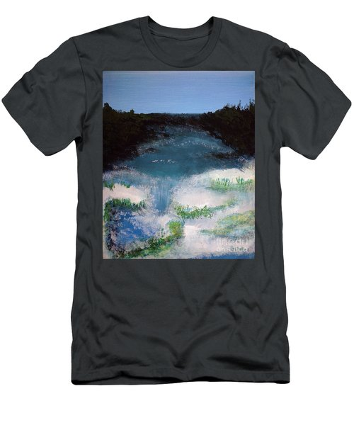 Island Escape Mixed Media Painting Men's T-Shirt (Athletic Fit)