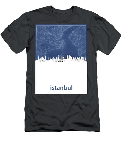 Istanbul Skyline Map Blue Men's T-Shirt (Athletic Fit)