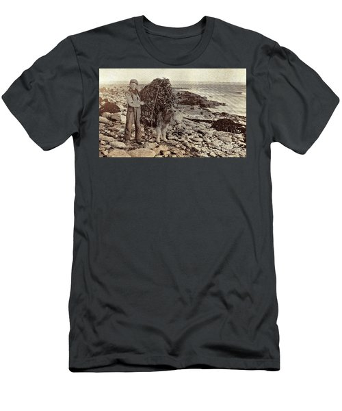 Men's T-Shirt (Athletic Fit) featuring the painting Its A Long Long Way To America by Val Byrne