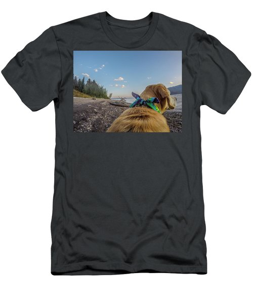 Men's T-Shirt (Athletic Fit) featuring the photograph Jackson Lake By Photo Dog Jackson by Matthew Irvin