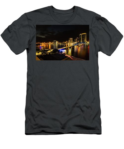 Jacksonville Skyline By Night Men's T-Shirt (Athletic Fit)