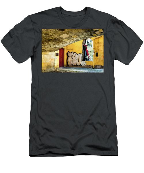 Men's T-Shirt (Athletic Fit) featuring the photograph Kissing Under The Bridge by Miles Whittingham